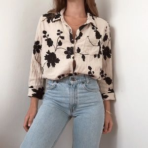 Anthropologie floral embroidered button-down